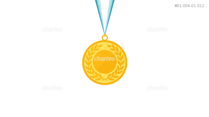 Gold medal with laurel wreath hanging on ribbon