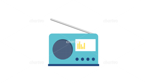 Small transistor radio with antenna and loudspeaker