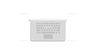 Laptop with keyboard in top view