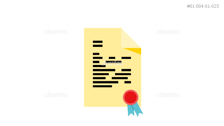 Document with ribbon wax seal and text