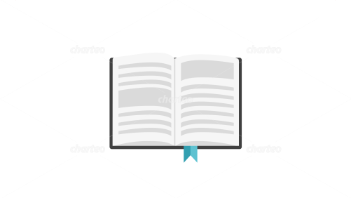 Open book with text lines and book ribbon