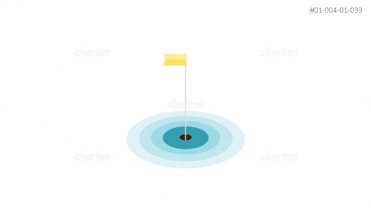Yellow golf course flag in hole with rings