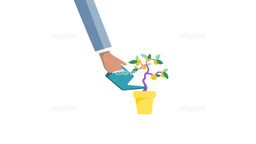 Hand watering small money tree with coins