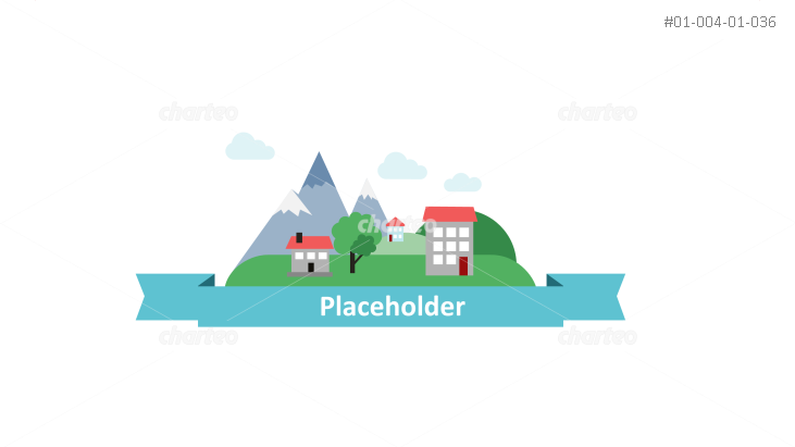 Country landscape with text placeholder ribbon banner
