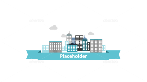 City skyline with ribbon banner as text placeholder