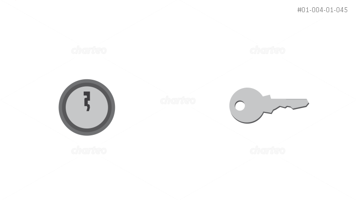 Keyhole and fitting silver key