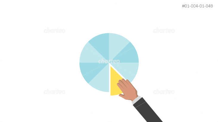Hand holding piece of pie chart