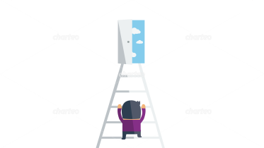 Man climbing ladder to open door with sky