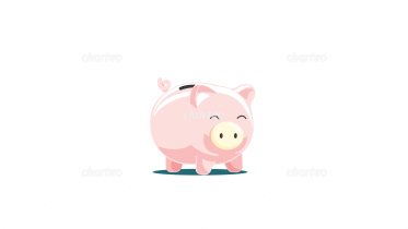 Sweet pink piggy bank with coin slot