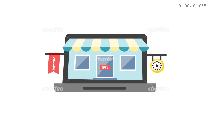 Small shop with awning on laptop display