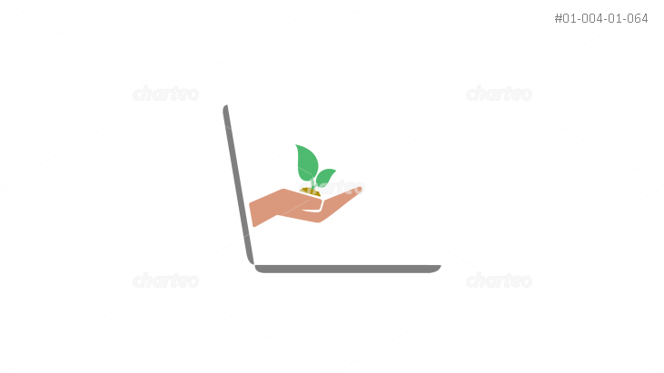 Hand holding seedling from laptop screen