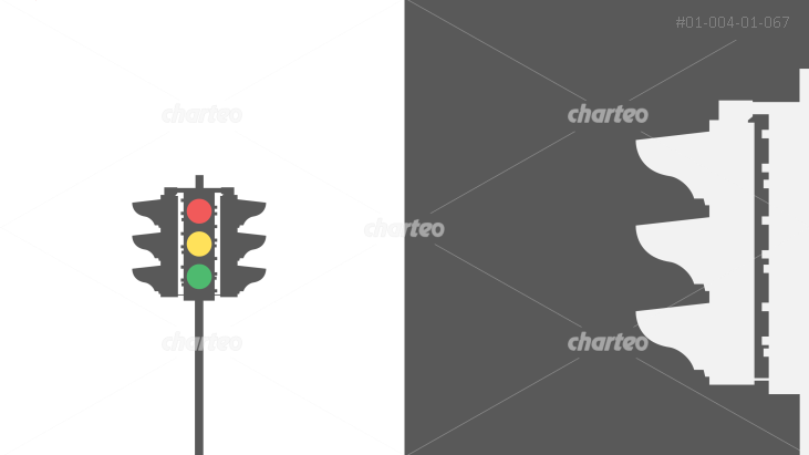 Detailed depictions of a three-directional traffic light