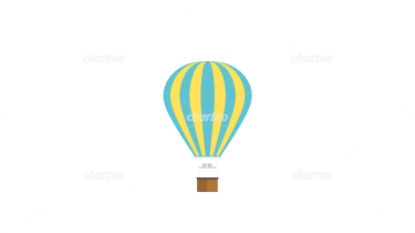 Striped hot-air balloon with balloon basket