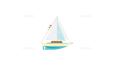 Small toy sailboat with white sails