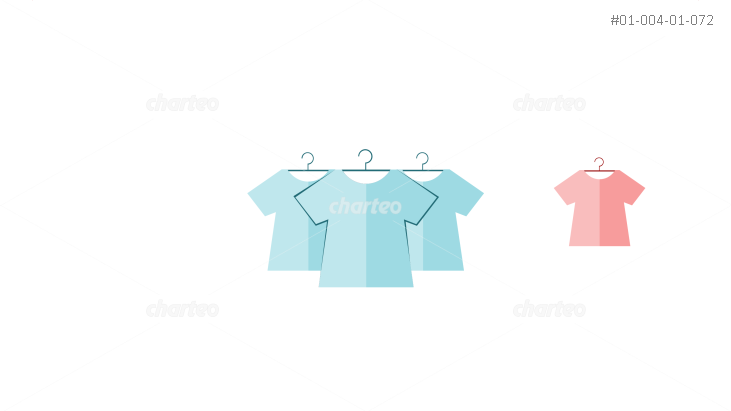 Differently colored shirts on wire hangers