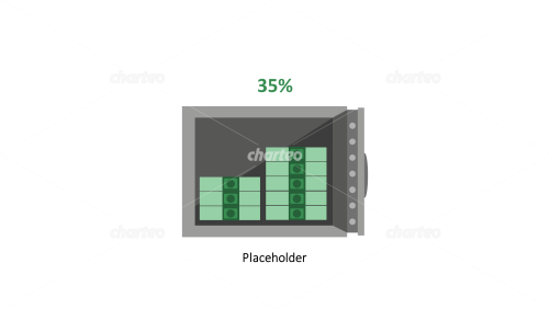 Open safe with stacked bank notes and percentage