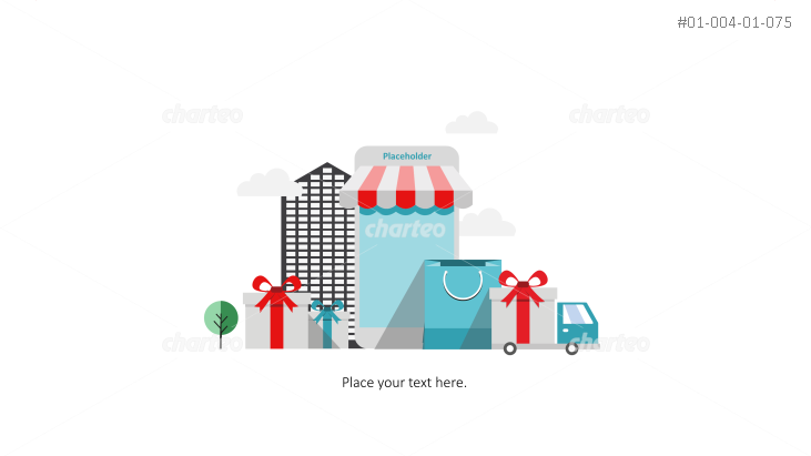 Gift boxes and smartphone with marquee as webshop