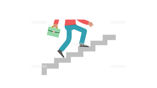 Half a picture of a man climbing stairs