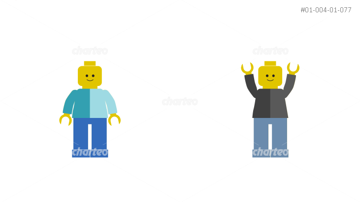 Two Lego figures with lowered or raised arms