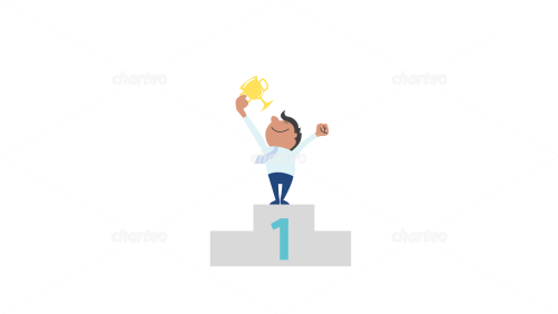 Man celebrating victory on winner's podium with trophy