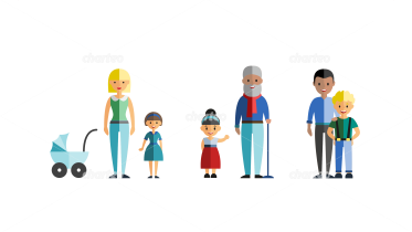 Cross-generational family or group with children