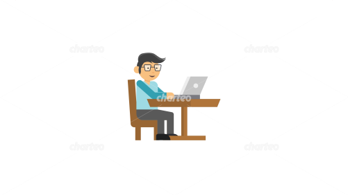 Persona icon of man working on a laptop