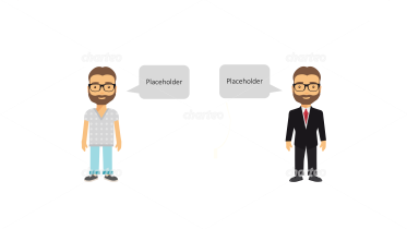 Business or casual persona icons with speech bubbles