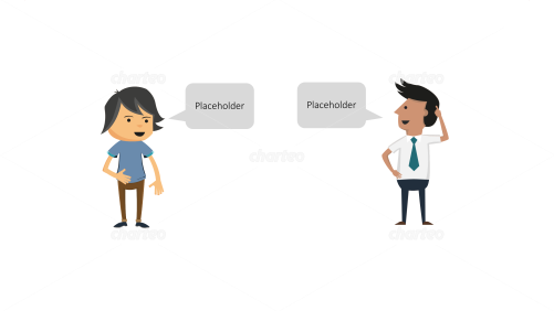 Casual and professional persona icons with speech bubbles