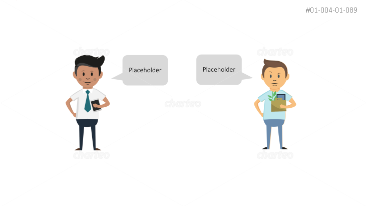 Boss and employee persona icons with speech bubbles