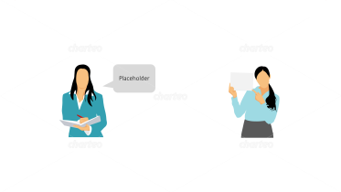 Female business persona icons with speech bubble and sign