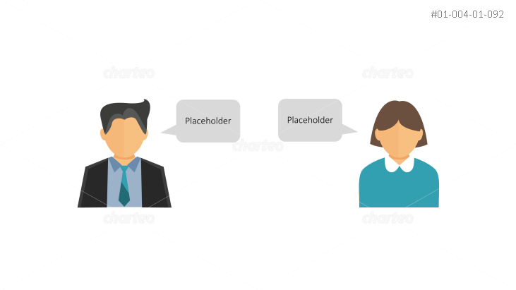 Office personnel persona icons with speech bubbles