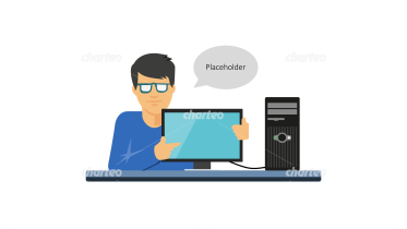 Man pointing on computer monitor with speech bubble