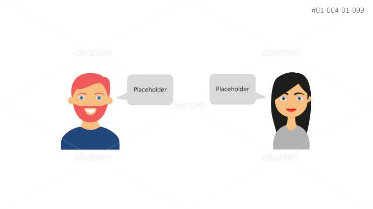 Casual private persona icons with speech bubbles