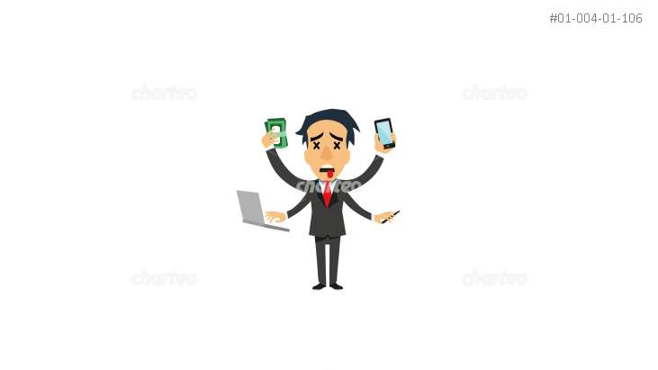 Stressed man with four arms for multitasking