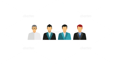 Four persona icons of businessmen shapes
