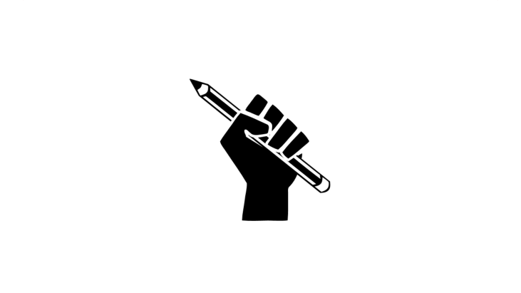 Raised hand with closed fist holding a pencil
