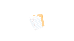 Single sheets of paper with manila folder