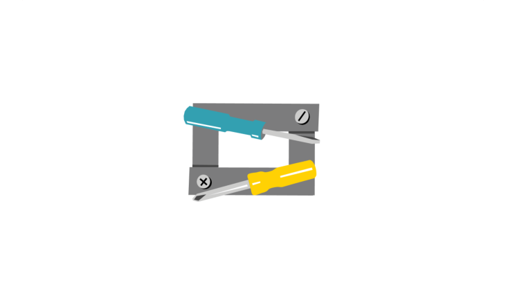 Slot and cross-tip screw driver with screws