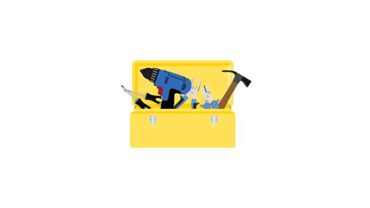 Yellow open toolbox with several tools