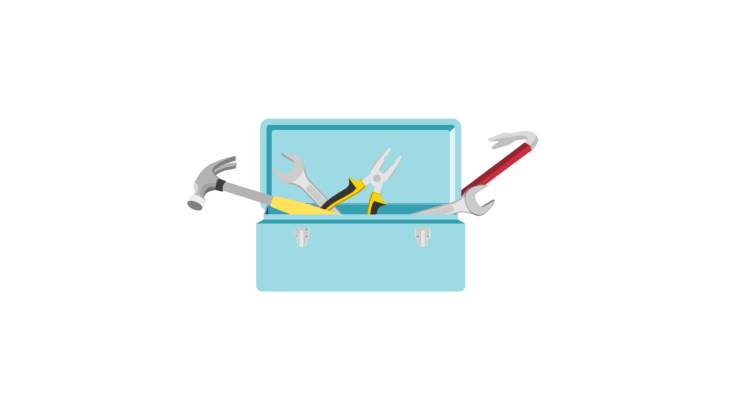 Open toolbox with several tools