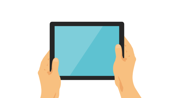 Two hands holding a tablet horizontally