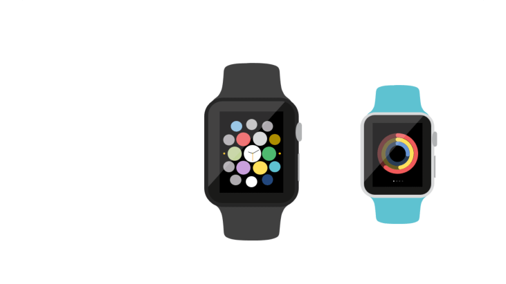 Two wearable smartwatches with stylized circular app icons