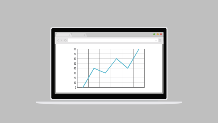 Open laptop showing a line graph on screen