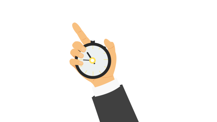 Hand of businessman holding a stop watch