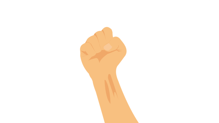 Right arm with raised clenched fist