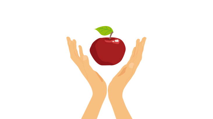 Two hands surrounding a hovering red apple