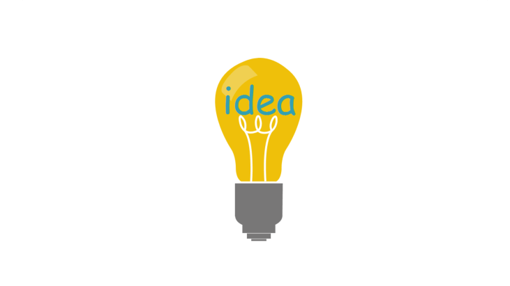Lightbulb with the word 'idea' and glow wire
