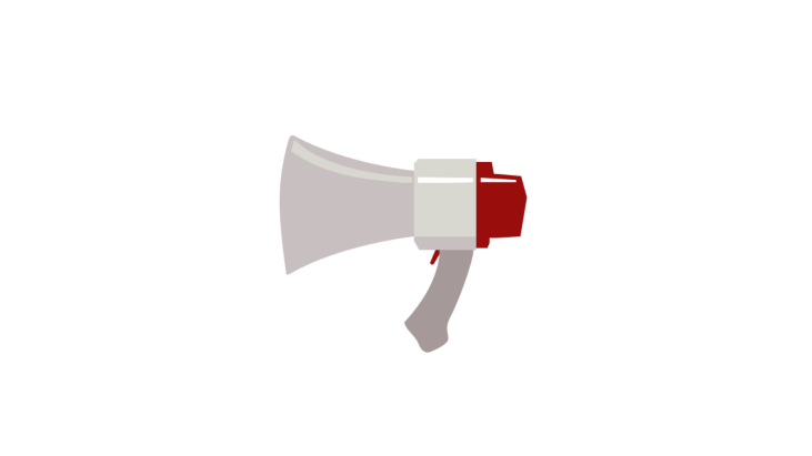 Grey hand-held megaphone with red mouthpiece