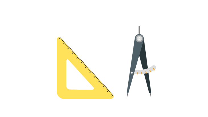 Triangle ruler and pair of compasses