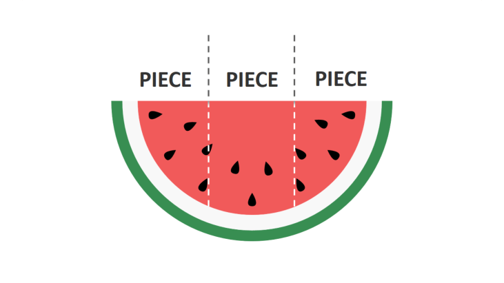 Red watermelon divided in three pieces
